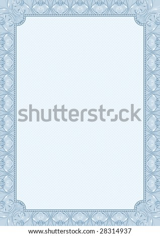 blue background with decorative ornate, vector illustration, size A4 - stock vector