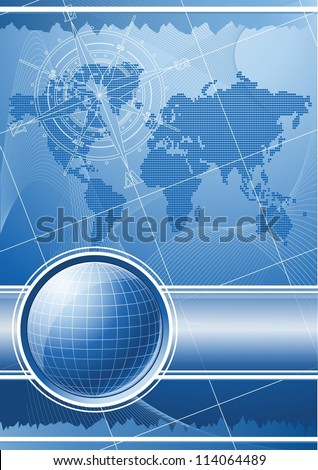 Blue background with globe and compass rose. Vector EPS 10