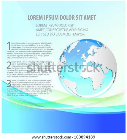 blue background with globe. vector - stock vector