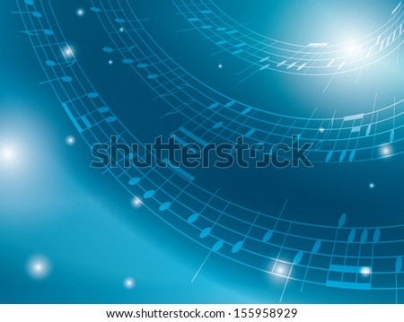 blue background with musical notes - vector. Eps 10.