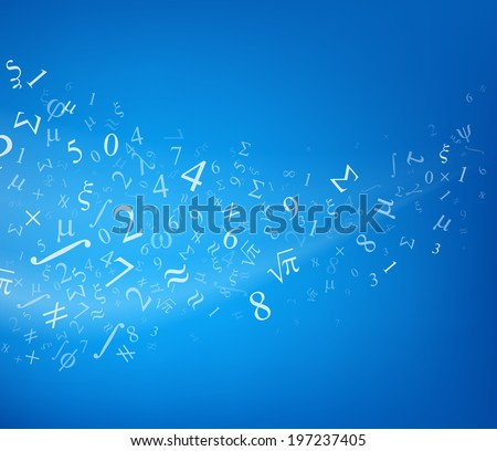 Blue background with numbers, vector illustration. - stock vector