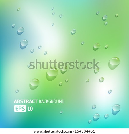 Blue Background with Rain Drops - stock vector