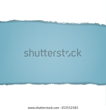 Blue Background With Ripped Paper  With Gradient Mesh, Vector Illustration