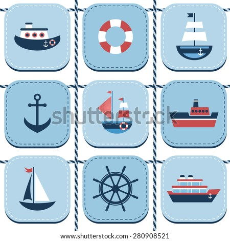 Blue background with sea transport - stock vector