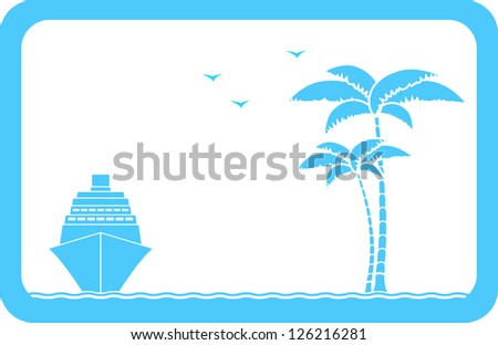 blue background with ship, palm and seagull and sample text - stock vector