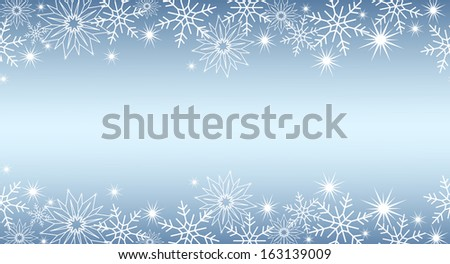 blue background with snowflakes - stock vector