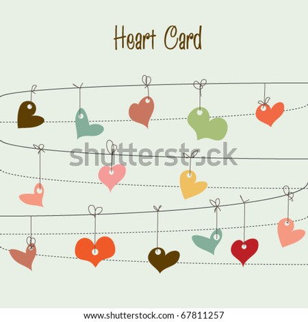 Blue background with stylish doodle colorful hearts