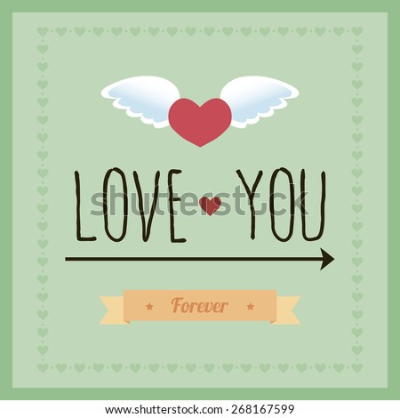 Blue background with text and hearts for valentine's day. Vector illustration - stock vector