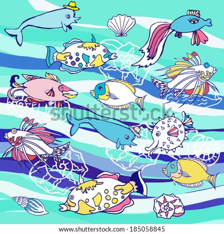 Blue background with  waves and different fishes
