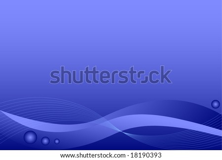 Blue background with waves and spheres. - stock vector