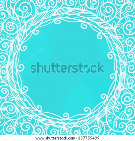 Blue background with white floral frame and space for text - vector - stock vector