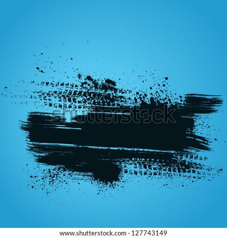Blue background with white grunge splash and tire track - stock vector