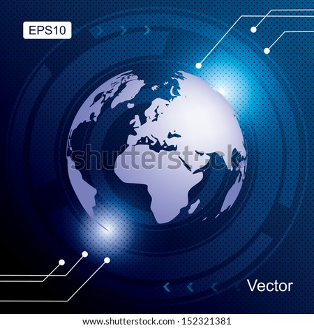Blue background world map technology vector illustration. - stock vector