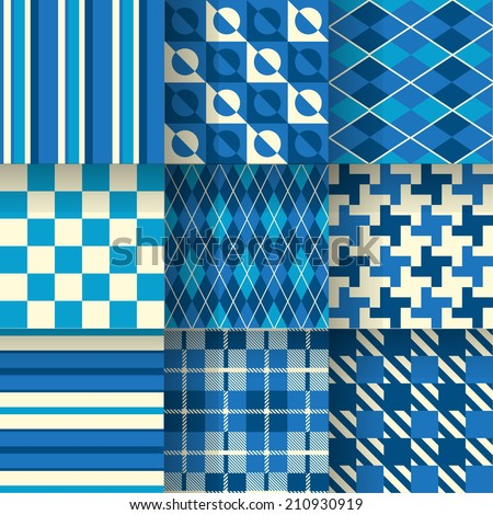 Blue backgrounds. Seamless pattern background print on sportswear for golf. Vector illustration EPS-10. Pattern Swatches made with Global Colors - quick, simple editing of color - stock vector