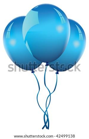 blue balloons - stock vector