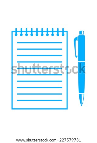 Blue ballpoint and notepad on white background