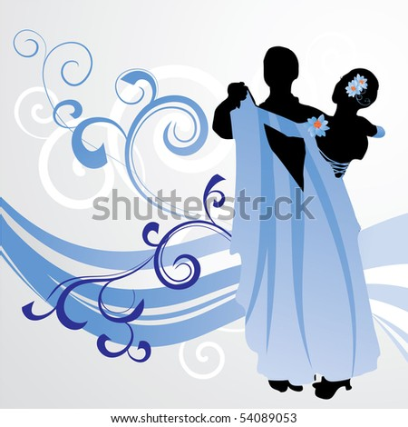 blue ballroom dance wave young couple dancers cool vector - stock vector