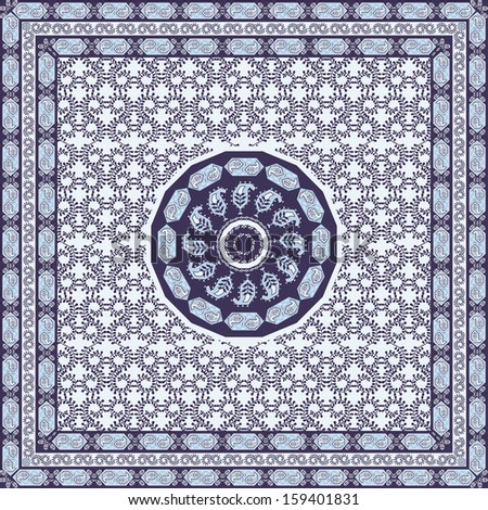 Blue Bandana Scarf with Traditional Boteh Pattern - stock vector