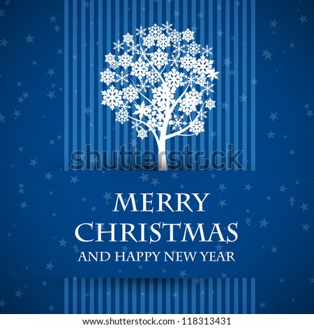 blue banned christmas card with christmas tree - stock vector