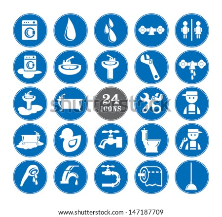 Blue Bathroom Icons Set, eps vector illustration - stock vector