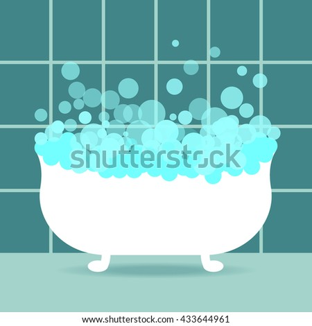 Blue bathroom interior. bath with bubbles. tile in the background. vector illustration