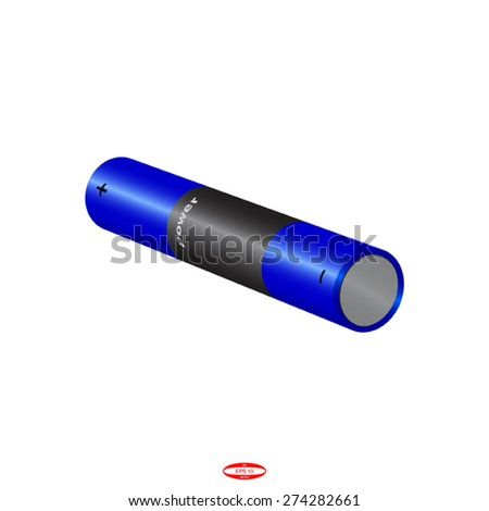 blue battery isolated on white background. vector illustration - stock vector