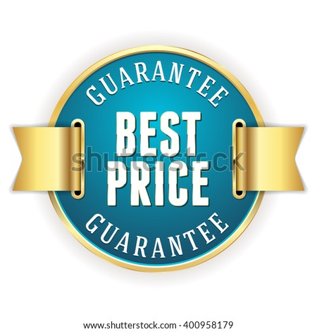 Blue best price guarantee badge with gold border and ribbon