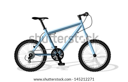 Blue bicycle on the white background