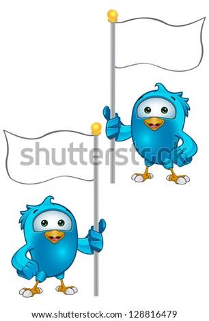 Blue Bird - Holding A Flag - stock vector