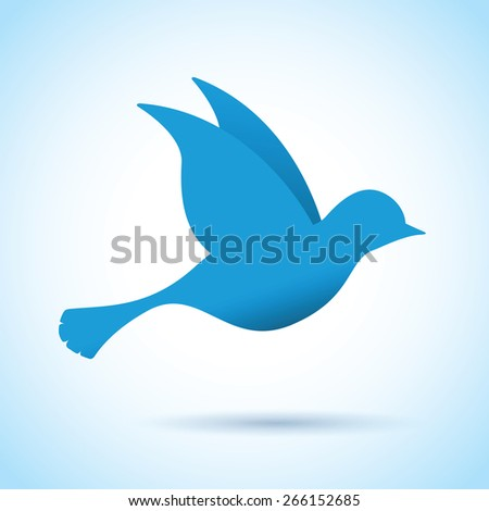 blue bird in flight - stock vector