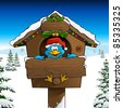 Blue Bird Merry Twitmas Card - stock photo