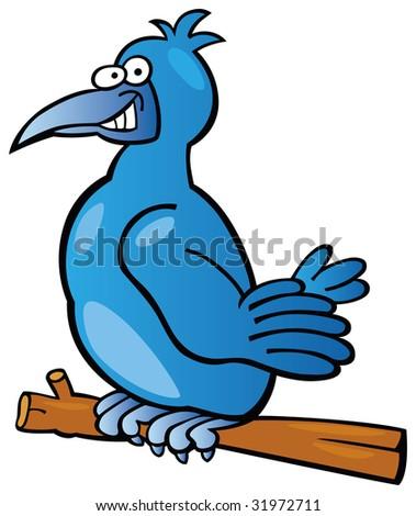 blue bird on the branch - stock vector