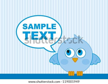 blue bird with balloons text over blue background. vector illustration - stock vector