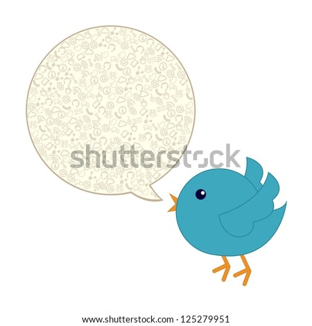 blue bird with bubble thought over white background. vector - stock vector