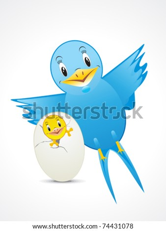 blue bird with child  vector illustration