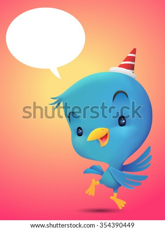 Blue Bird with hat, dancing in red background - stock vector