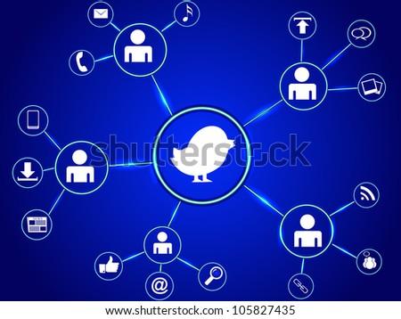 Blue bird with social media concept. EPS 10. - stock vector