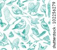 Blue birds and butterflies seamless pattern - stock photo
