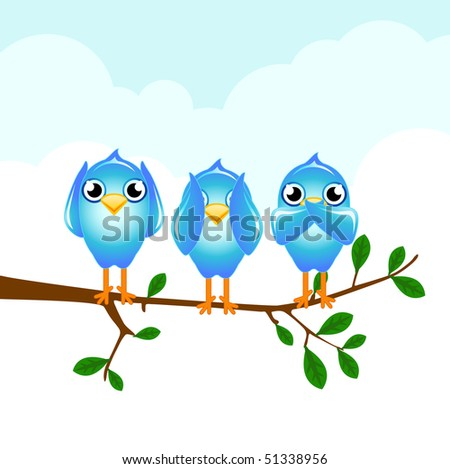 blue birds hear, see and speak no evil - stock vector