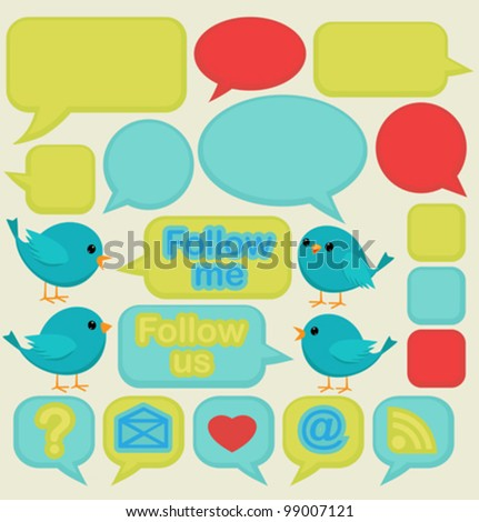 Blue birds with speech bubbles - stock vector