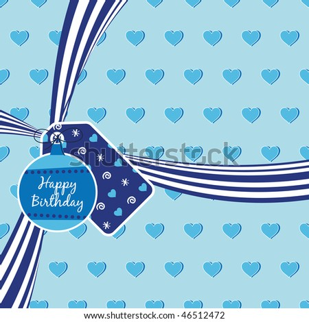 blue birthday ribbon on heart background with tags