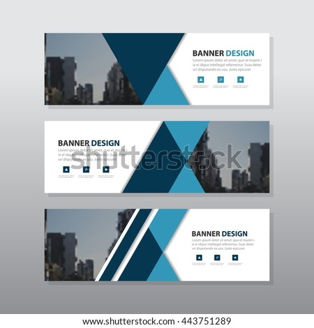 Blue black triangle abstract corporate business banner template, horizontal advertising business banner layout template flat design set , clean abstract cover header background for website design - stock vector