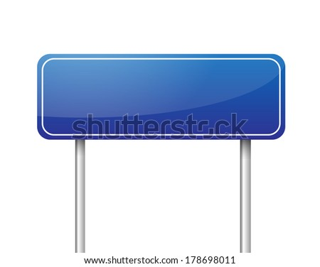 Blue blank road sign vector - stock vector