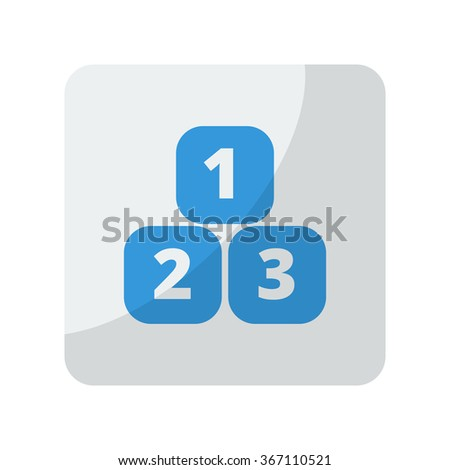Blue 123 Blocks icon on grey rounded square button on white - stock vector