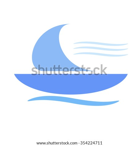 blue boat flying in a light breeze
