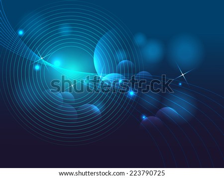 blue bokeh abstract and star background vector illustration