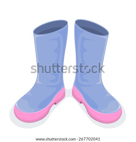Blue boots isolated on white background, illustration. - stock vector