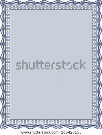 Blue border certificate or diploma template