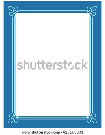 Blue border frame deco vector label simple line corner - stock vector