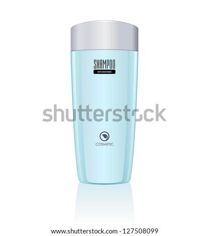 Blue Bottle of Shampoo. Vector EPS10 - stock vector
